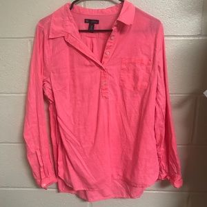 Two half button down shirts! Pink and light green